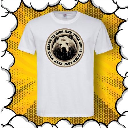 Мъжка тениска с печат Keep Your Head Up
