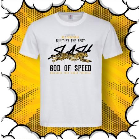 Мъжка тениска с печат Cheetah God of Speed
