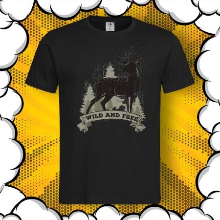 Мъжка тениска с картинка Wild and Free