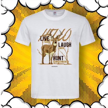 Мъжка тениска за ловци Live, Laught, Hunt