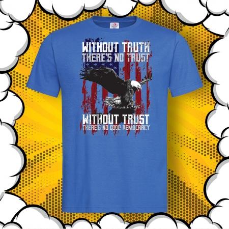 Мъжка тениска с картинка и надпис Democracy