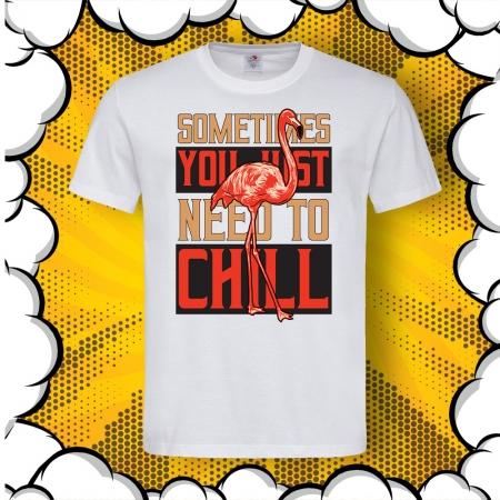 Мъжка тениска с картинка Фламинго и надпис Need To Chill