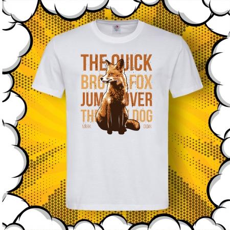 Мъжка тениска с лисица и надпис Quick Brown Fox