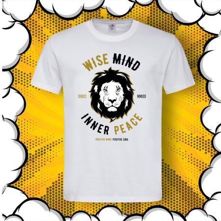 Мъжка тениска с надпис Positive mind, Positive soul и картинка