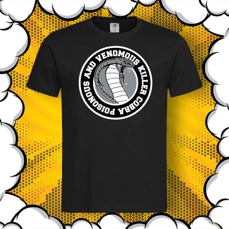 Мъжка тениска с картинка и надпис Cobra Poisonous