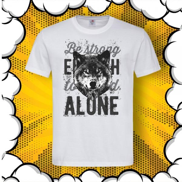 мъжка тениска с цитат и вълк