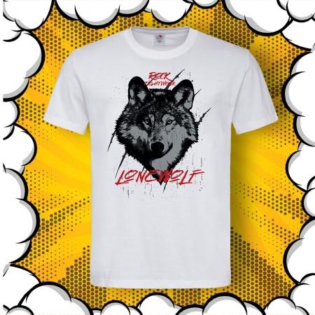 Мъжка тениска с картинка Lone Wolf Rock Fightwear