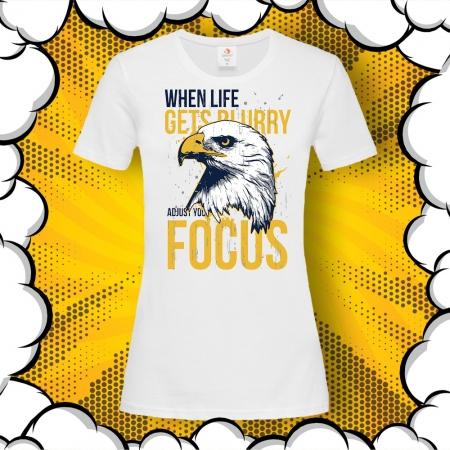 Дамска тениска с надпис Just Focus