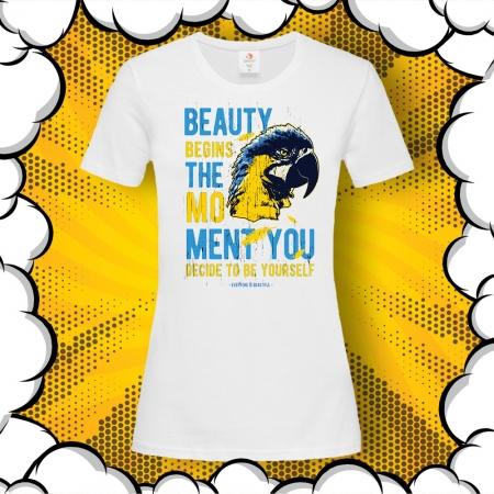 Дамска тениска с печат Be yourself
