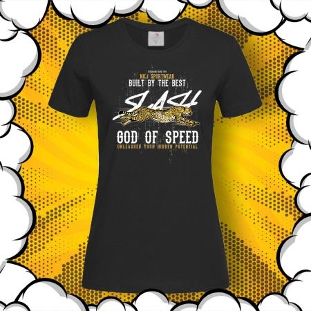 Дамска тениска с печат Cheetah God of Speed
