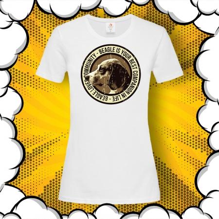 Дамска тениска с картинка Бигъл/Beagle Lover Community