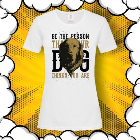 Дамска тениска с принт Golden Retriever – Be the Person