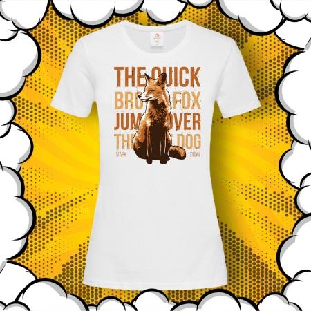 Дамска тениска с лисица и надпис Quick Brown Fox