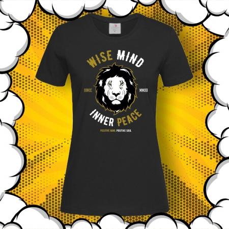 Дамска тениска с надпис Positive mind, Positive soul и картинка