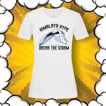 Дамска тениска със сова и надпис Owl Himalaya Hype