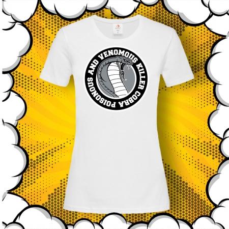 Дамска тениска с картинка и надпис Cobra Poisonous