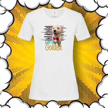 Тениска с голдън ретрийвър и надпис Life is Golden