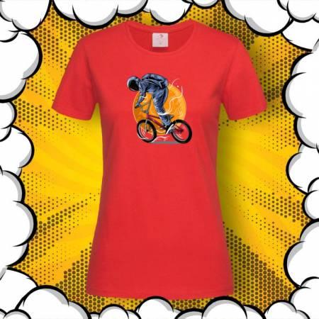 Дамска тениска с принт Astronaut Riding BMX