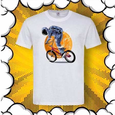 Мъжка тениска с принт Astronaut Riding BMX