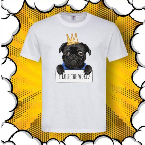 Тениска с щампа мопс I rule the world