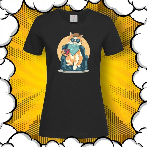 Тениска с щампа котка