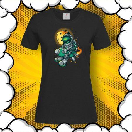 Дамска тениска с принт Astronaut Rocket