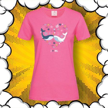 Дамска тениска за влюбени I Love You
