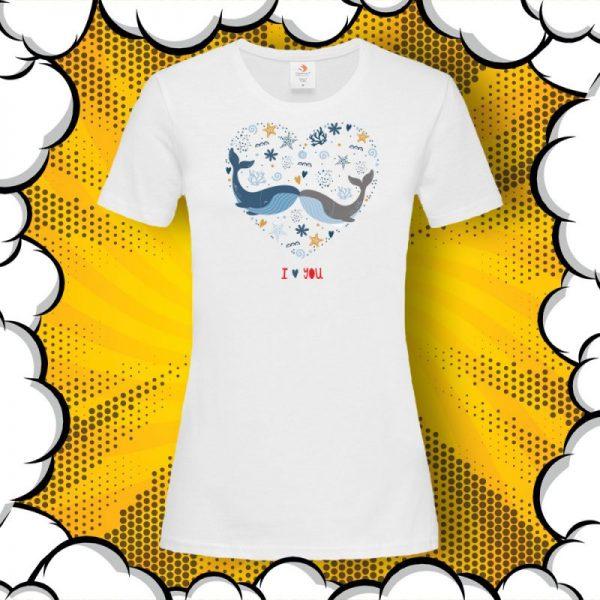 Тениска за влюбени с щампа I Love You