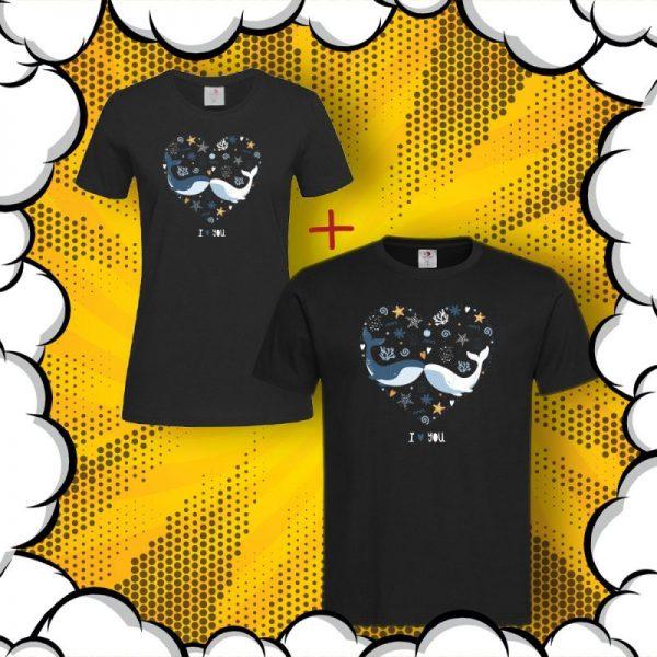 Тениски за двойки с щампа I Love You