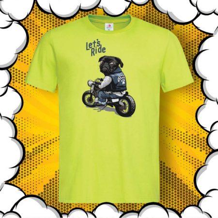 Мъжка тениска с принт с мопс и надпис Let's Ride