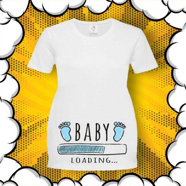 Тениска за бременни със забавен надпис BIG BABY BANG BOOM