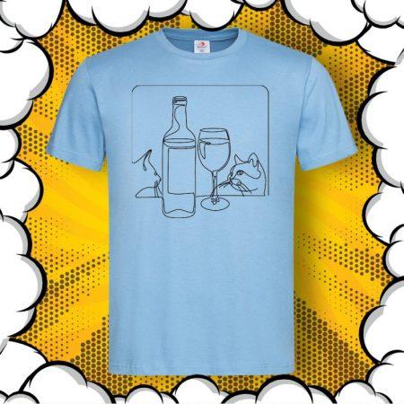 Мъжка арт тениска Вино и Котки