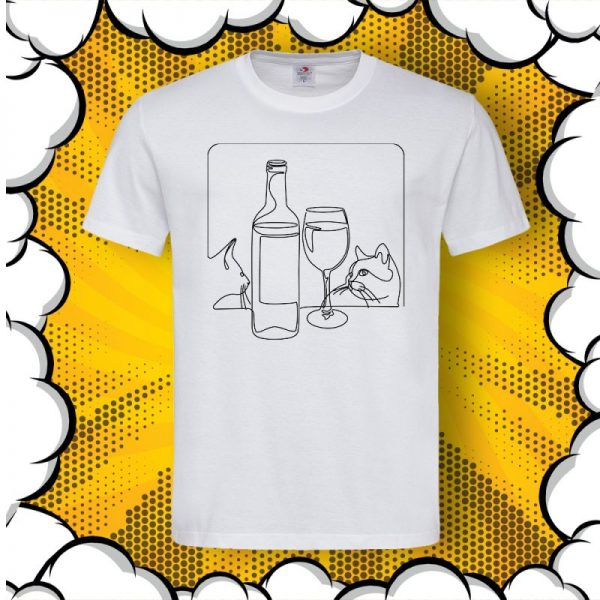 Арт тениска Вино и Котки