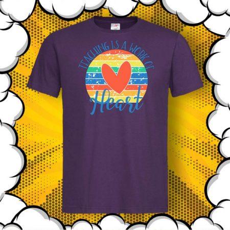 Мъжка тениска за учител Teaching is a work of HEART