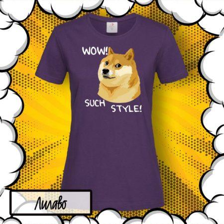 Тениска с куче Шиба Ину Wow Such Style