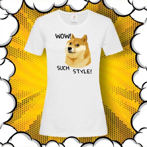 тениска с принт куче Shiba Inu