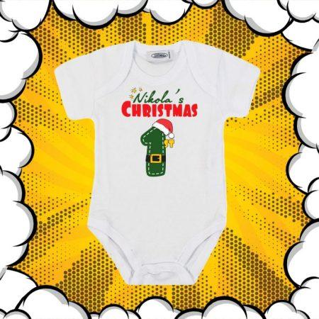 Бебешко коледно боди My First Christmas с име