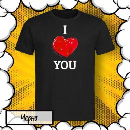 Мъжка тениска с принт I Love You
