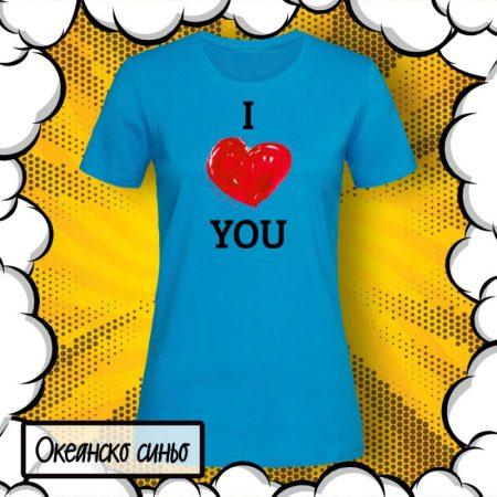 Дамска тениска с принт I Love You