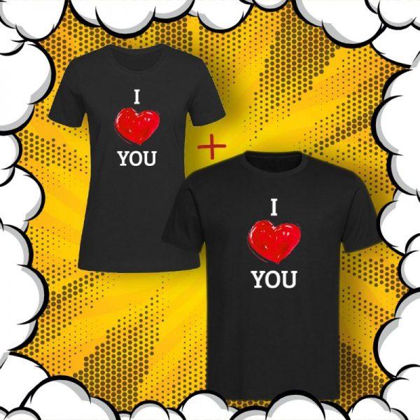 Комплект тениски за влюбени Обичам те