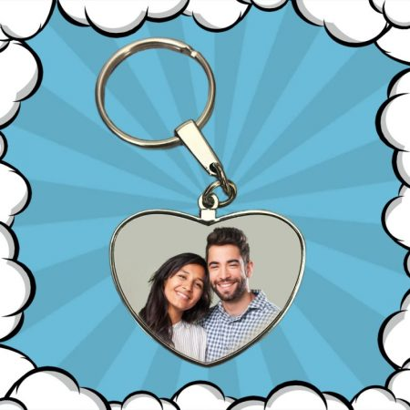 Ключодържател сърце с твоя снимка (метален, двустранен)