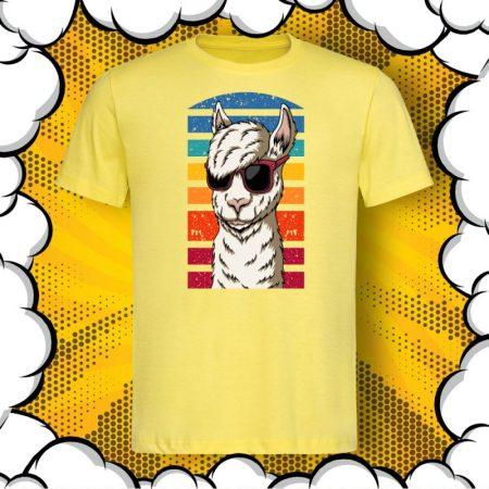 Мъжка тениска с принт Hipster Llama